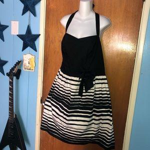 torrid Dresses - Torrid 22 Black & White Striped Bow Front Halter